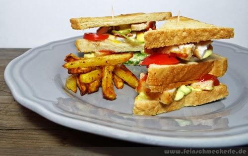 club sandwich mit hausgemachten ofen pommes feinschmeckerle foodblog reiseblog stuttgart. Black Bedroom Furniture Sets. Home Design Ideas