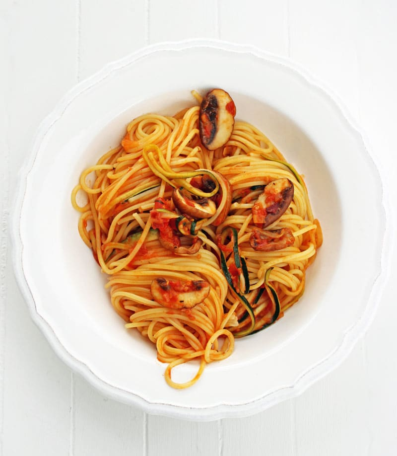 Zoodles mit Speck, Champignons, Tomaten – und Spaghetti ;-)